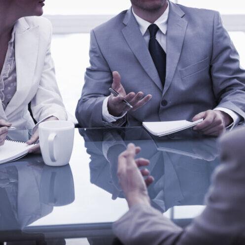 a team talking in an office