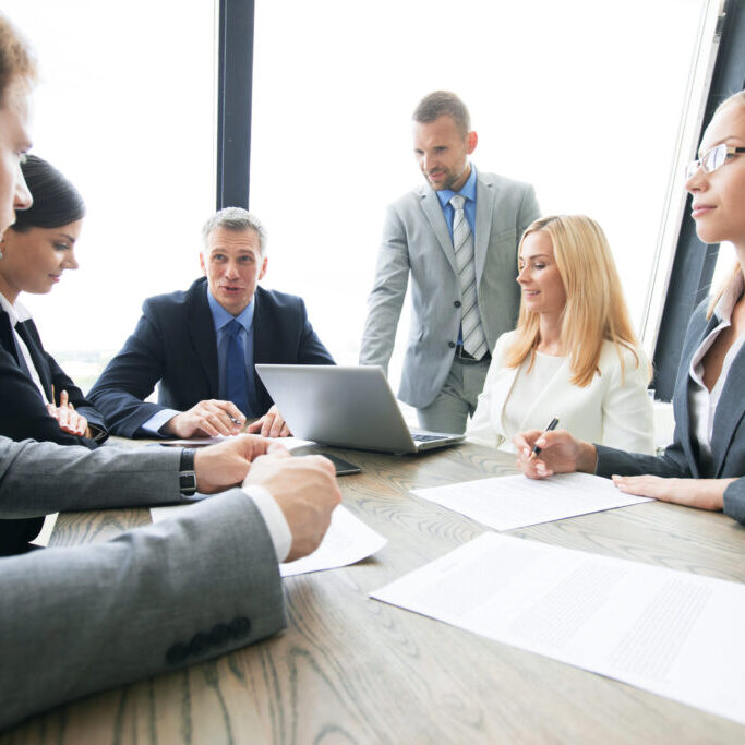 a group of people on a meeting
